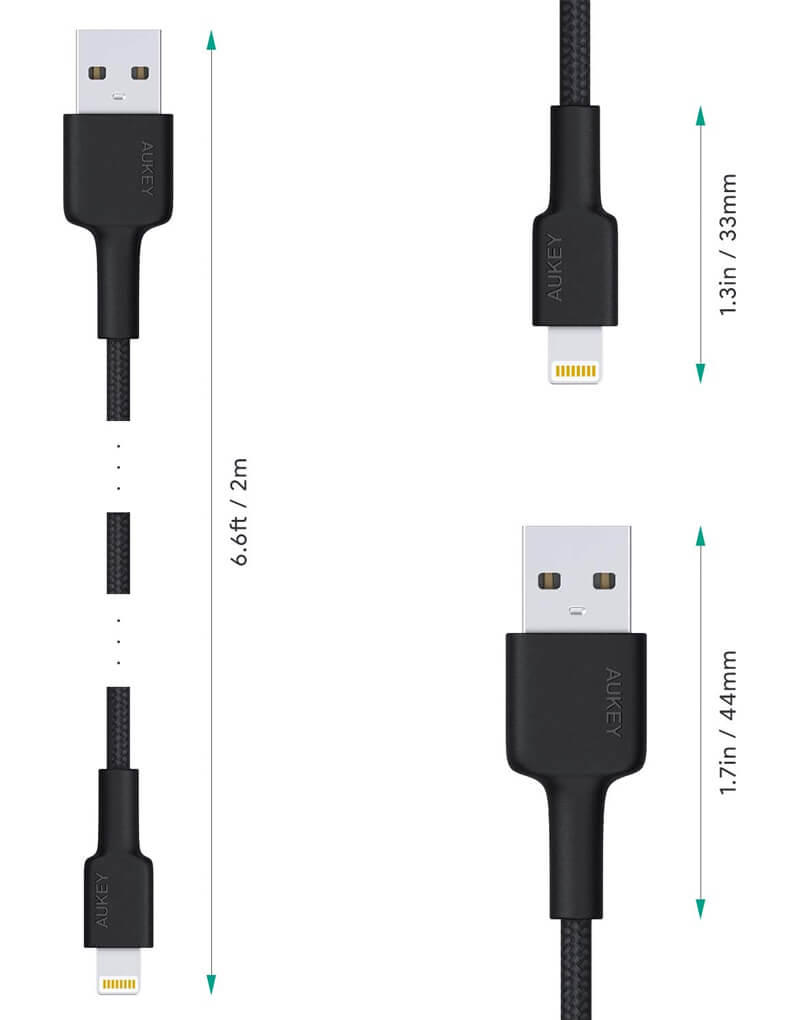Essential Accessories - AUKEY Lightning Cable 6ft