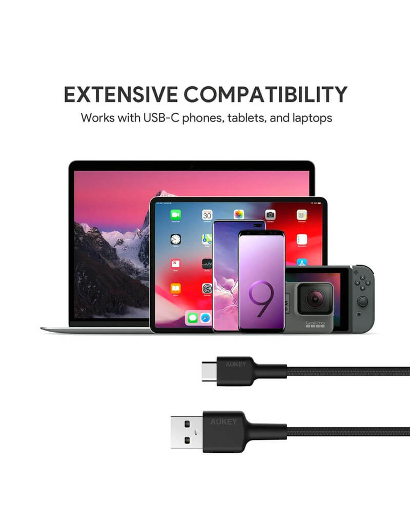 Essential Accessories - Aukey Braided Nylon USB-A to C
